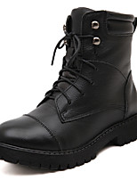 Women's Shoes Leather Platform Bootie / Round Toe / Closed Toe Boots Dress / Casual Black