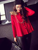 Women's Solid Red / Black Casual Long Sleeve Cardigan