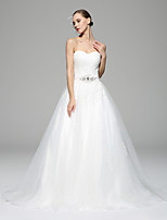 A-line Wedding Dress - White Chapel Train Sweetheart Lace / Organza