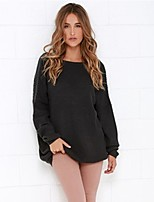 Women's Sexy Fashion Round Neck Loose Backless Long Sleeve Blouse/Sweater (Acrylic)