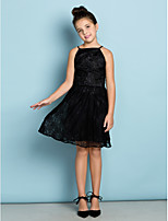 Knee-length Lace Junior Bridesmaid Dress - Black A-line Spaghetti Straps