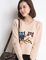 Women's Korean  Loose Round Collar  Long sleeve Pullover Bottoming Knitwear Sweater with Bird Pattern