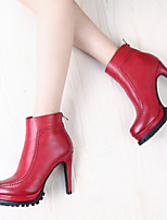 Women's Shoes Chunky Heel Heels / Novelty / Round Toe Boots Office & Career / Dress / Casual Black / Red / Gray