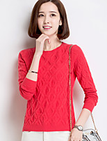 Women's Solid Red / Black / Almond Pullover , Casual Long Sleeve