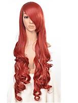 anime cosplay pruik Euramerikaanse populariteit groeide 80 cm rode krullen nylon haar pruiken