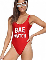 Women's New Style Hot Red Letter Print One-pieces , Push-up