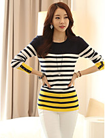 Women's Striped Multi-color Pullover , Sexy / Casual Long Sleeve