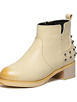 Women's Shoes Chunky Heel Combat Boots Boots Outdoor / Casual Black / Beige