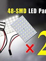 2 x 48-SMD mappa cupola pannello bianco camper interno ha condotto la luce delle lampadine + BA15S 1156 adattatore