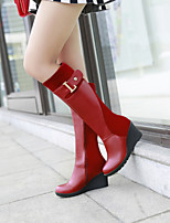 Women's Shoes Leatherette Wedge Heel Wedges / Round Toe Boots Outdoor / Office & Career / Casual Black / Brown / Red