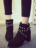 Women's Shoes British Style Pointed Toe Rivet Chunky Heel Comfort Boots Casual Black / Gray