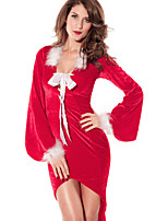 Christmas Costume Women's Polyester Sexy V Neck Feathers Cocktail Dress with Hat Red