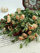seda / rosas de plástico flores artificiales 2pcs / set