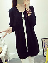 Women's Solid Mohair Long Cardigan , Casual Long Sleeve