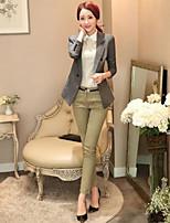 Women's Solid Black / Green / Gray Blazer , Work Asymmetrical Long Sleeve