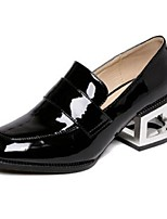 Women's Shoes Patent Leather Chunky Heel Closed Toe Heels Casual Black / Gray