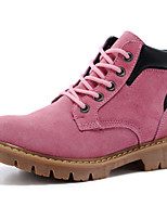 Women's Shoes Suede Flat Heel Motorcycle Boots / Combat Boots Boots Outdoor / Casual Brown / Pink