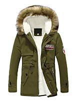 Men's Long Parka Coat , Cotton / Cotton Blend Pure Long Sleeve XKS10A06