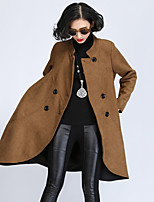 Women's Solid Black / Yellow Trench Coat , Casual / Plus Sizes Long Sleeve Tweed / Nylon / Wool Blends