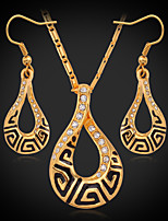 Instyle 18K Chunky Gold Plated Rhinestone Crystal Pendant Earrings Set High Quality