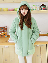 Women's Solid Green / Gray Parka Coat , Casual Hooded Long Sleeve