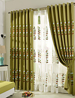 Two Panels Green  Coffee  Vine Floral  Leaf Linen  Curtain