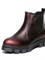 Chaussures Femme - Extérieure - Noir / Argent / Bordeaux - Talon Plat - Confort - Bottes - Similicuir