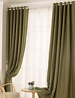 (Two Panels)Modern  Solid  Jacquard Linen/Cotton Polyester Blend Energy Saving Curtain(Sheer Not Included)