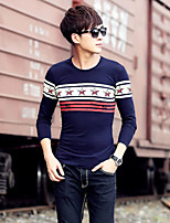 Men's Long Sleeve round neck T-Shirt , Cotton Casual Print