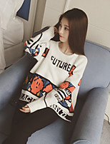 Women's Print White / Black Pullover , Casual Long Sleeve