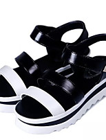 Women's Shoes Leatherette Platform Ankle Strap / Styles / Open Toe Sandals Outdoor / Casual Black / White