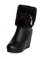 Women's Shoes Polyester Wedge Heel Round Toe Boots Casual Black / White