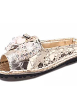 Women's Shoes Leatherette Flat Heel Ankle Strap / Styles / Open Toe Sandals Outdoor / Casual Silver / Gold