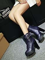Women's Shoes Leatherette Stiletto Heel Fashion Boots /  / Round Toe Boots Outdoor / Dress / Casual Black / Blue / Red