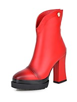 Women's Shoes Chunky Heel/ Fashion Boots / Square Toe Boots Dress / Casual Black / Red