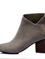 Zapatos de mujer - Tacón Robusto - Puntiagudos - Botas - Casual - Ante - Negro / Gris