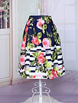 Women's Fashion Chinese Style Floral Printing Slim Elastic Waist Luxury Vintage Skirts