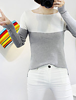 Women's Striped Blue / Red / Yellow / Gray Pullover , Sexy / Casual Long Sleeve