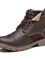 Черный Кофейный-Для мужчин-Для прогулок Для офиса Повседневный Для вечеринки / ужина Work & Safety-Наппа LeatherУдобная обувь-Ботинки