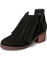 Women's Shoes Suede Chunky Heel Round Toe Boots Outdoor / Casual Black / Beige