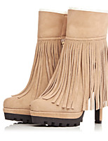 Women's Shoes Leather Stiletto Heel Fashion Boots / Round Toe Boots Dress / Casual Black / Beige