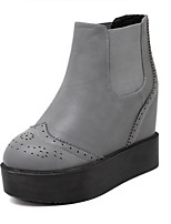 Women's Shoes  Platform Bootie / Round Toe Boots Outdoor / Casual Black / Gray