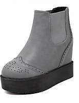 Chaussures Femme - Extérieure / Décontracté - Noir / Gris - Plateforme - Bottine / Bout Arrondi - Bottes - Similicuir