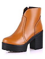 Chaussures Femme - Bureau & Travail / Habillé / Décontracté - Noir / Marron / Rouge / Beige - Gros Talon - Confort / Bottes à la Mode -