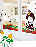 Wall Stickers Wall Decals Style Lawn Girl PVC Wall Stickers