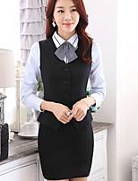 Women's Solid Blue / Black Blazer , Work V Neck Long Sleeve