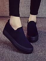 Calçados Femininos - Mocassins / Deslizante - Plataforma / Creepers / Arrendondado - Plataforma - Preto / Azul / Vinho - Lona -Ar-Livre /