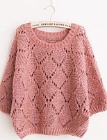 Women's Solid Pink / Red / Green / Gray Pullover , Sexy / Casual Long Sleeve