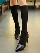 Zapatos de mujer - Tacón Stiletto - Puntiagudos / Punta Cerrada - Botas - Vestido / Casual - Poliéster / Semicuero - Negro
