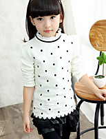 Girl's White Tee , Floral Cotton Blend Winter / Spring / Fall